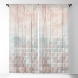 Distressed Cube Pattern - Nude, turquoise and seashell Sheer Curtain