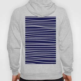 Navy Blue & White Maritime Hand Drawn Stripes - Mix & Match with Simplicity of Life Hoody
