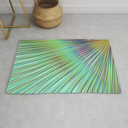 Rainbow rays in blue, abstract print, diagonal lines, ocean colors Rug