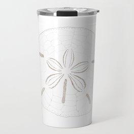 Sand Dollar Dreams - Brown on White Travel Mug