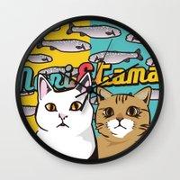 nori Wall Clocks featuring Nori&Tama by sol_pro