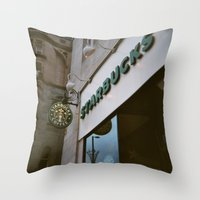 starbucks Throw Pillows featuring Starbucks in Manchester by Stina Nilsson
