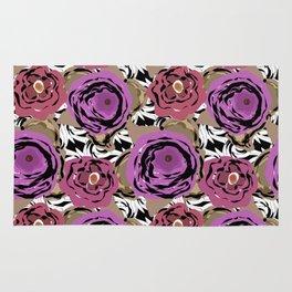 Brown purple flower Rug