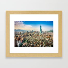 Aerial view and cityscape of Taipei, Taiwan Framed Art Print