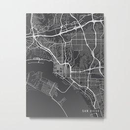 San Diego Map, California USA - Charcoal Portrait Metal Print