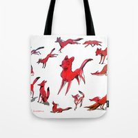 foxes Tote Bags featuring Foxes by Kit Seaton
