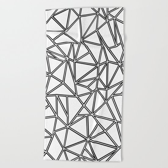 Abstract New Black on White Beach Towel