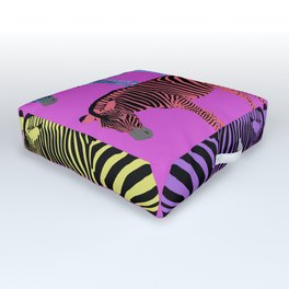 Rainbow Zebras Outdoor Floor Cushion