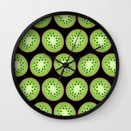 Kiwi Pattern  |  Black Background Wall Clock