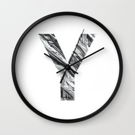 The Letter Y- Stone Texture Wall Clock