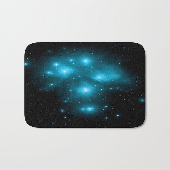 Turquoise Blue Galaxy: Pleiades Constellation Bath Mat