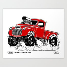1946 Chevy Pick-up – RED Art Print