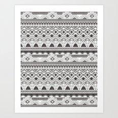 CRYSTAL AZTEC B/W  Art Print