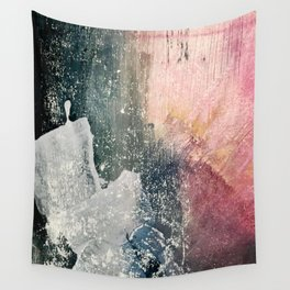Reckless [6]: a colorful, abstract mixed-media piece in pinks, blues, white and gold Wall Tapestry