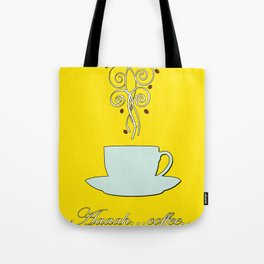 Aaah...coffee...  Retro / Vintage Coffee Print on Hello Sunshine Background Tote Bag