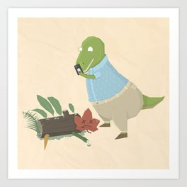 Hipster Dinosaur Instagrams his Vegan Lunch Art Print