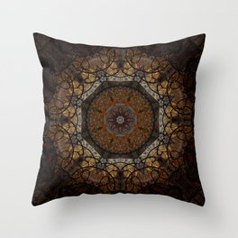Rich Brown and Gold Textured Mandala Art Throw Pillow