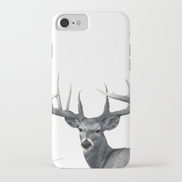 The Majestic Trophy Buck - Deer Graphite Pencil Drawing - by Julio Lucas iPhone Case