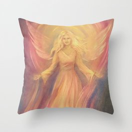 Angel Light Love - Spiritual painting Throw Pillow