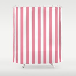 Vertical Stripes Pink & White Shower Curtain