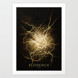 florence italy city night light map Art Print