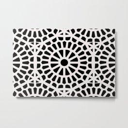 Moroccan Geometric Art Deco Middle Eastern Black & White Pattern  Metal Print