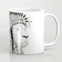 lion king Mugs featuring Lion King by Vinayak Dasari