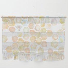 Bee and honeycomb watercolor Wall Hanging