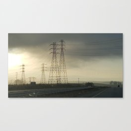 Phone towers in the clouds Canvas Print