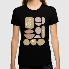 Boho Organic Shapes and Floral Illustrations in Desert Clay and Sand Colors T-shirt
