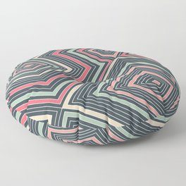 Red, Green, Blue, and Peach Lines - Illusion Floor Pillow