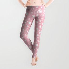 White & blush pink snowflake pattern Leggings