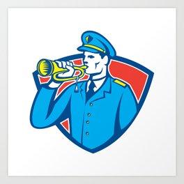 Soldier Blowing Bugle Crest Art Print
