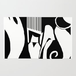90 Abstract Print Artwork_White Rug