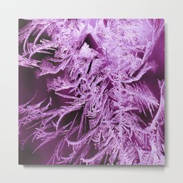 White Ice Crystals On A Purple Background #decor #society6 #homedecor Metal Print