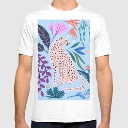 Blush pink Cheetah in jungle florals / jungle cat print /modern art T-shirt