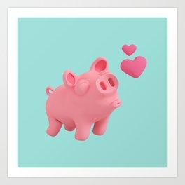 Rosa the Pig blow kisses Art Print