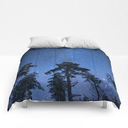 Shimmering Blue Night Sky Stars Comforters