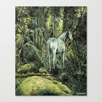 pixies Canvas Prints featuring Unicorn & Pixies by Mike Lowe