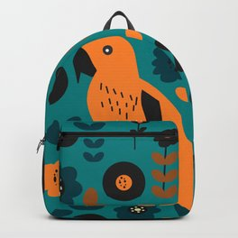 Parrot and flowers Backpack