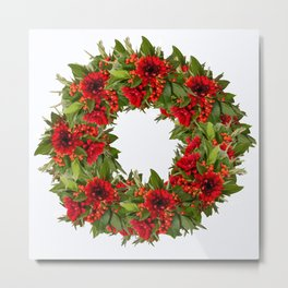 Red And Green Wreath On A White Background - Arrangement Of Flowers And Berries #decor #society6 Metal Print
