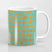 gold dots Mugs featuring Gold Dots on Turquoise by Sandra Arduini