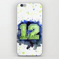seahawks iPhone & iPod Skins featuring 12th Man Seahawks Seattle Go Hawks Art by Olechka