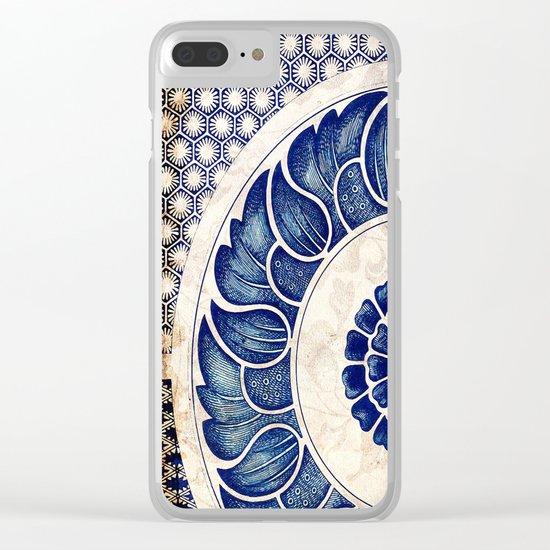 Blue Oriental Vintage Tile 05 Clear iPhone Case