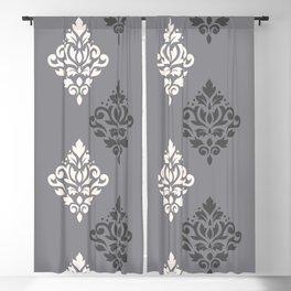 Scroll Damask Art I Cream & Grays Blackout Curtain