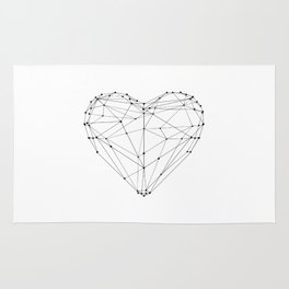 Love Heart Geometric Polygon Drawing Vector Illustration Valentines Day Gift for Girlfriend Rug