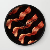 bacon Wall Clocks featuring Bacon by Alex Boake Illustration