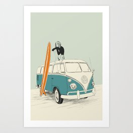 Wild Surfer Art Print