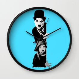 Chaplin and the kid - turquoise Wall Clock