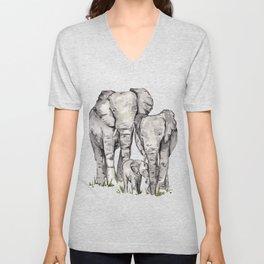 Elephant Family Unisex V-Neck